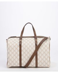 Gucci Ivory and Tan Gg Canvas Boston Top Handle Bag - Lyst