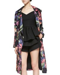 Cameo - Real Talk Open-Front Floral Trenchcoat - Lyst