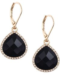 Anne Klein - Gold Tone And Glitz Black Stone Teardrop Earrings - Lyst