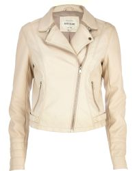 River Island Cream Zip Collar Biker Jacket - Lyst