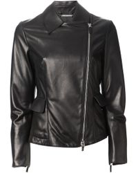Giorgio Armani Leather Peplum Jacket - Lyst
