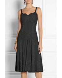 Dolce & Gabbana Laceappliquéd Crepe Dress - Lyst