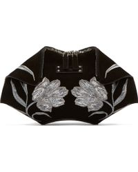 Alexander McQueen Black Embroidered Tulip De Manta Small Clutch - Lyst