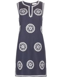 Tory Burch Embroidered Linen-Blend Dress - Lyst