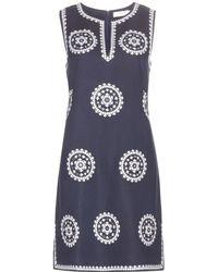 Tory Burch Embroidered Linen-Blend Dress - Lyst