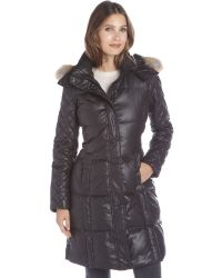 Marc New York Black Lacquer Quilted 'Alana' Fur Trim Hooded Down Coat - Lyst