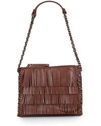 Sondra Roberts - Fringed Faux Leather Shoulder Bag - Lyst