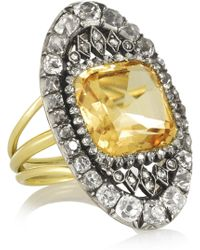 Olivia Collings - 18karat Gold Topaz and Diamond Ring - Lyst