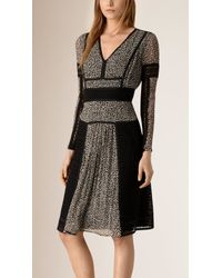 Burberry | Paneled Lace And Leopard Print Silk Dress | Lyst