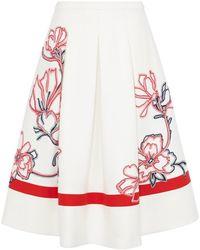 Karen Millen Full Skirt With Ribbon Applique floral - Lyst