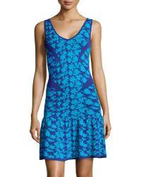 Nicole Miller Printed Dropwaist Sleeveless Sweaterdress - Lyst