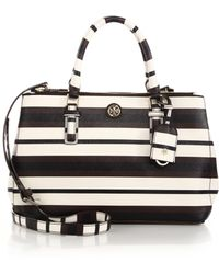Tory Burch Robinson Striped Double-Zip Tote - Lyst