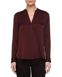 Vince Half Placket Stretch Silk High-low Blouse - Lyst