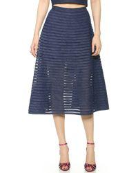 Cynthia Rowley Blue Midi Skirt  - Lyst