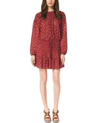 Michael Kors Leaf-Print Smock Dress - Lyst