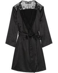 L'Agent by Agent Provocateur - Marisela Lace-Trimmed Stretch-Satin Robe - Lyst