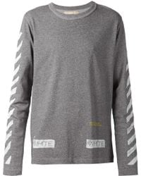 Off-White Gray Striped-Sleeved T-Shirt - Lyst