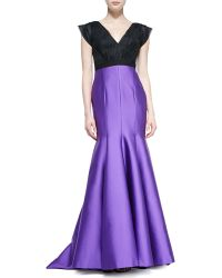 J. Mendel Cap-sleeve Organza and Charmeuse Gown - Lyst