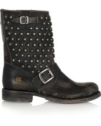 Frye - Jenna Studded Distressed Leather Boots - Lyst