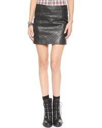 Love Leather The Quilted Straight Skirt  Black - Lyst