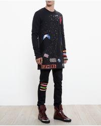 Raf Simons Longline Artwork Appliqué Sweatshirt - Lyst
