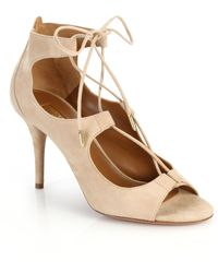 Aquazzura Christy Open-Toe Lace-Up Suede Pumps - Lyst