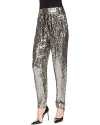 Alice + Olivia Alice  Olivia Sequined Trousers W Gathered Waist - Lyst