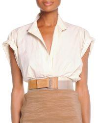 Donna Karan New York Rolled-Sleeve Camp Shirt - Lyst