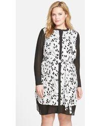 DKNY Chiffon Pieced Shirtdress - Lyst