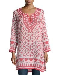 Raj - Moroccan Printed Long-sleeve Tunic Dress - Lyst