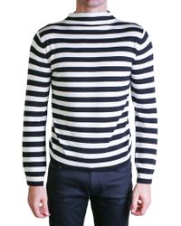 Saint Laurent | Black And White High-neck Sweater | Lyst