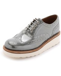Foot The Coacher - Emily Platform Oxfords - Silver - Lyst