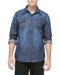 True Religion Jake Stretch-denim Western Shirt - Lyst