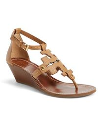Tory Burch 'Chandler' Wedge Leather Sandal - Lyst