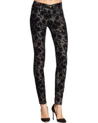 7 For All Mankind Velvet Floral Pattern-flocked Skinny Jeans - Lyst