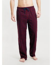 Topman Rednavy Mini Check Flannel Pyjama Bottoms - Lyst