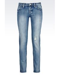 Armani Jeans Medium Light Wash Skinny Jeans - Lyst
