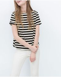Zara Striped T-Shirt black - Lyst