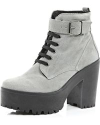 River Island Grey Suede Lace Up Platform Ankle Boots - Lyst