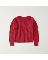 Abercrombie & Fitch - Cable V-neck Sweater - Lyst