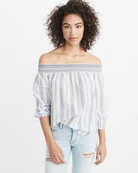 a14062ad9f3216 Abercrombie   Fitch - Off-the-shoulder Embroidered Top - Lyst