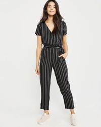 ee467f69193 Abercrombie   Fitch - A f Short-sleeve Wrap-front Jumpsuit - Lyst