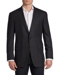 Hickey Freeman Wool Glen Plaid Two Button Sport Coat - Lyst