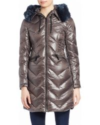 Vince Camuto - Faux Fur-trimmed Metallic Jacket - Lyst