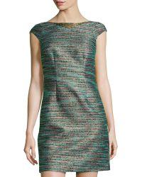 Laundry by Shelli Segal Cap-Sleeve Shimmer-Woven Dress - Lyst