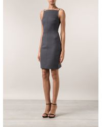Gareth Pugh Gray Fitted Dress - Lyst