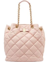 Ferragamo Genny Quilted Leather Tote - Lyst