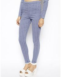 Asos Mid Rise Denim Jeggings in Tile Print - Lyst