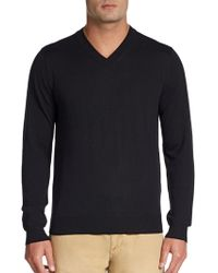 Saks Fifth Avenue Black Wool Vneck Sweater - Lyst
