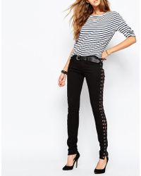 Tripp Nyc - Low Rise Skinny Jeans With Boho Festival Lace Up Side Detail - Lyst
